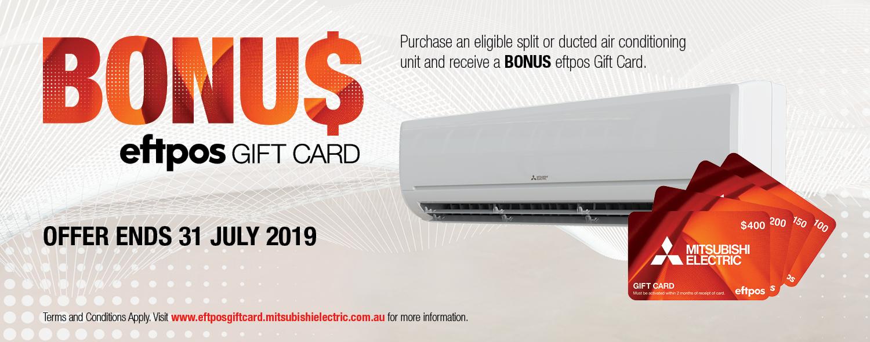 Mitsubishi Electric BONUS eftpos GIFT CARD